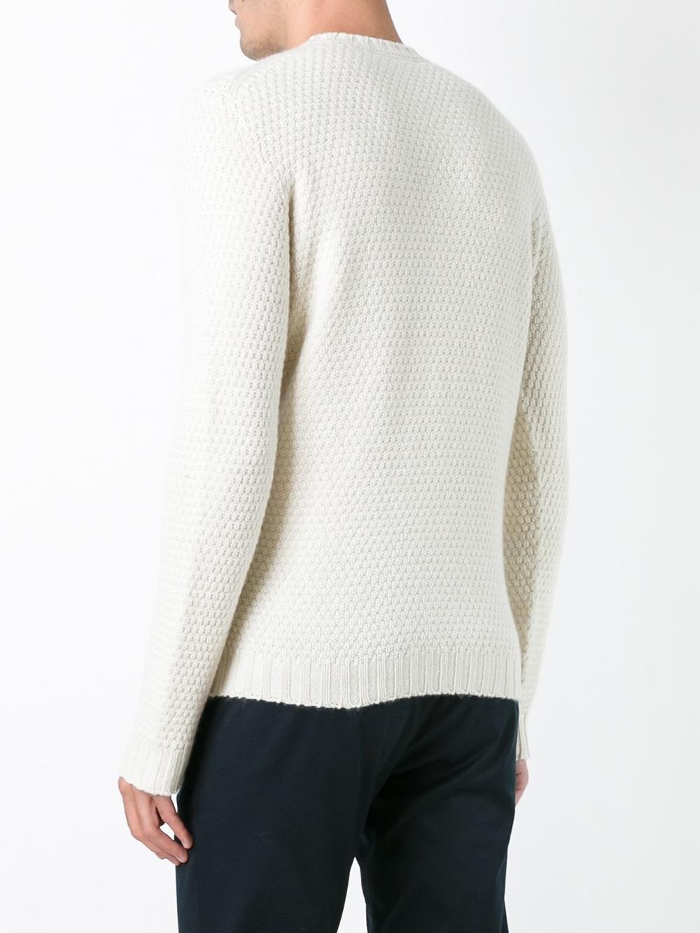 Drumohr Wool Aran Diamond Detail Jumper in White for Men