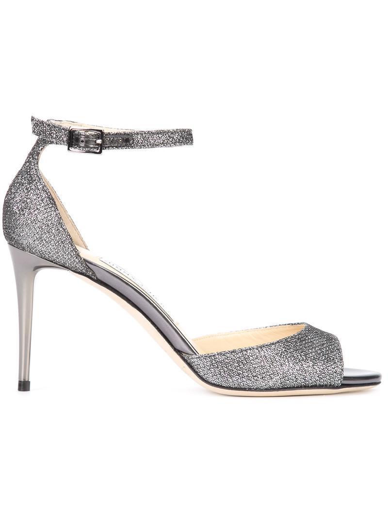 cf3cfd6c3fe Jimmy Choo. Women s Metallic Annie 85 Anthracite Lam Glitter Fabric Peep  Toe Sandals ...
