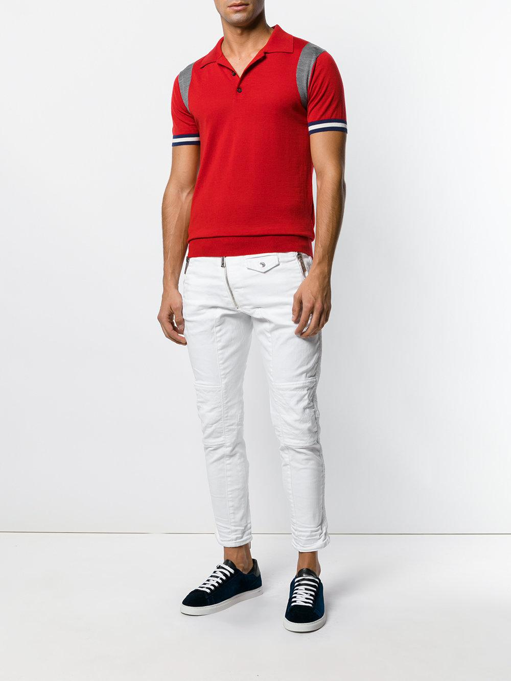 DSquared² Cotton Biker Trousers in White for Men