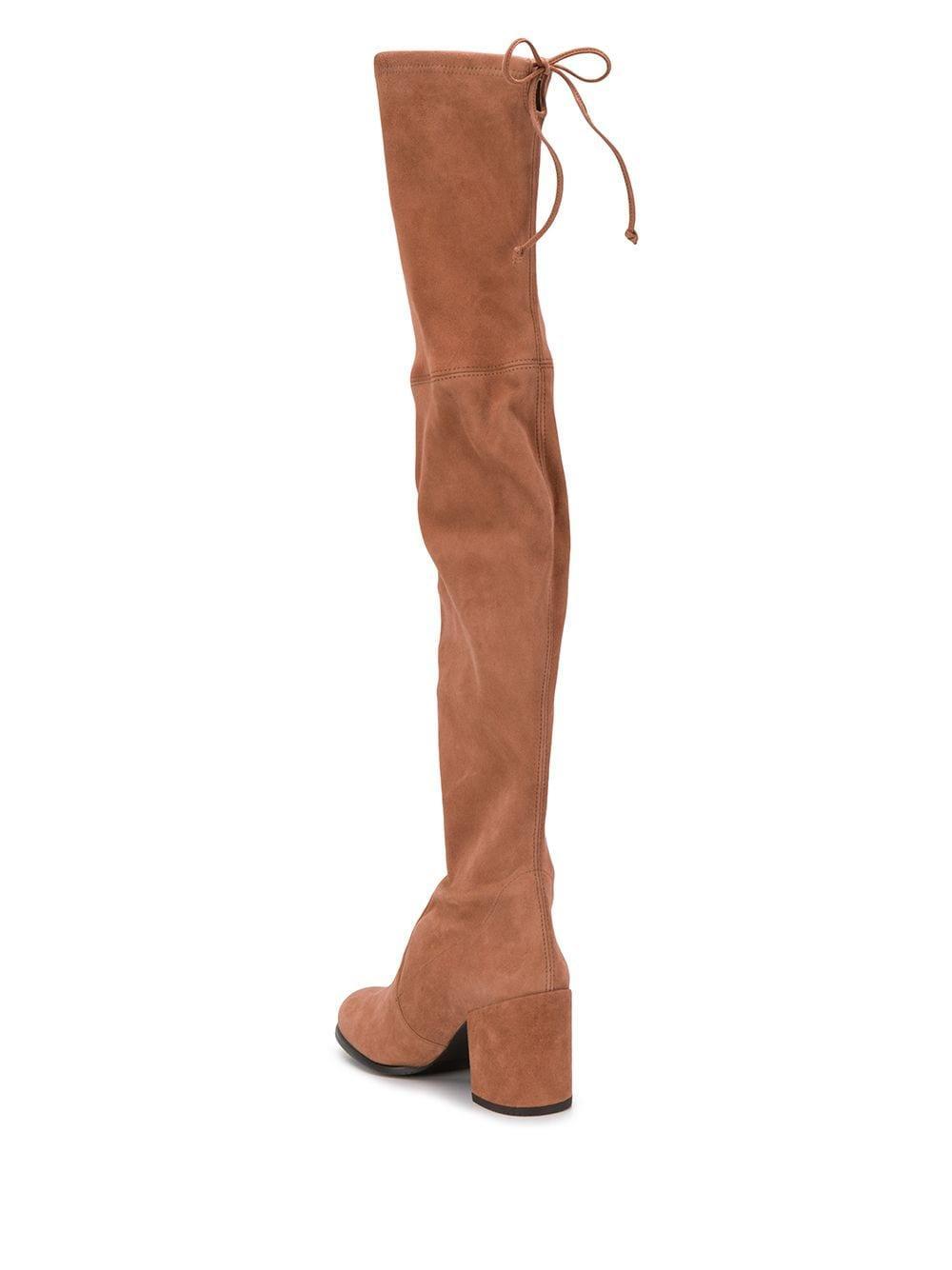 Botas altas con cordones Stuart Weitzman de Cuero de color Marrón