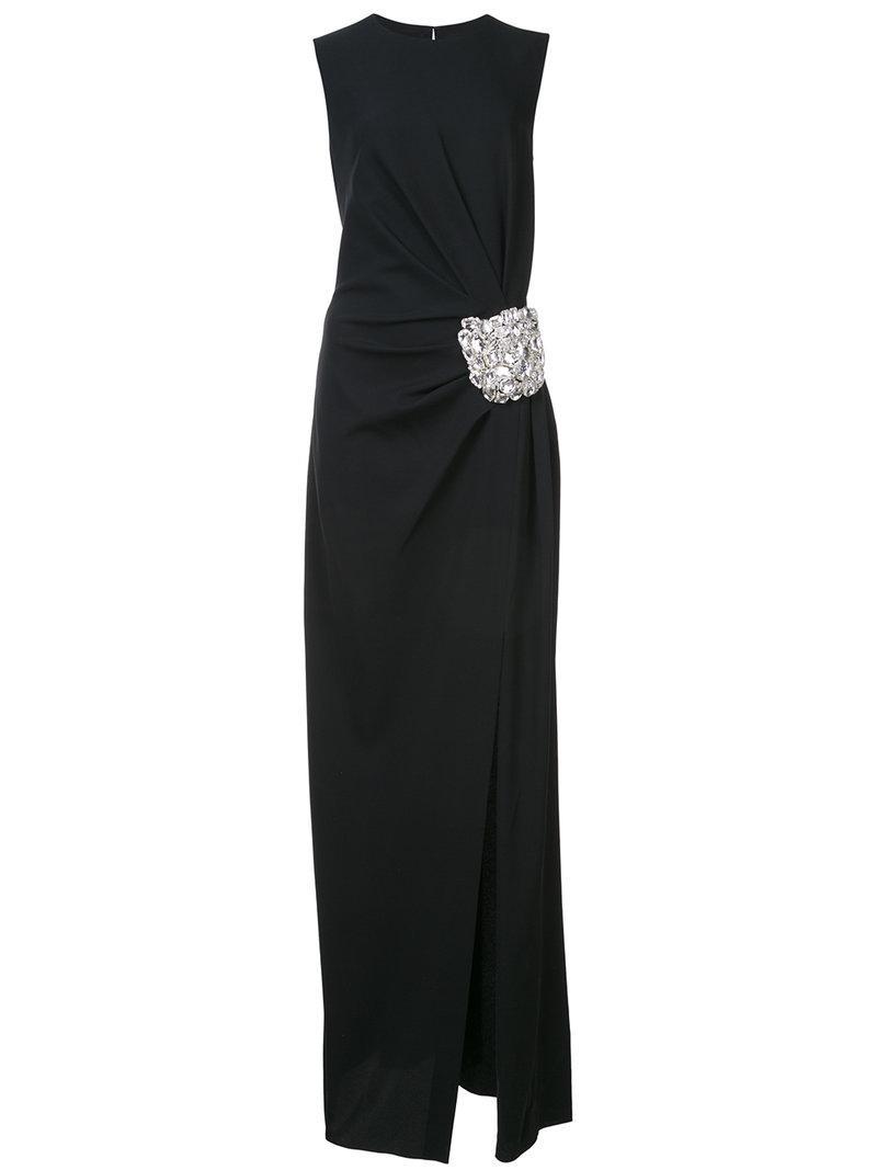brooch embellished column gown - Black Oscar De La Renta 2ysaBSFys5