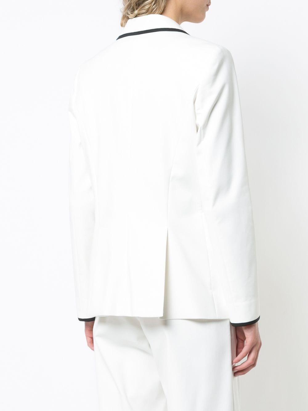 Blazer à bordures contrastantes Coton Sara Battaglia en coloris Blanc