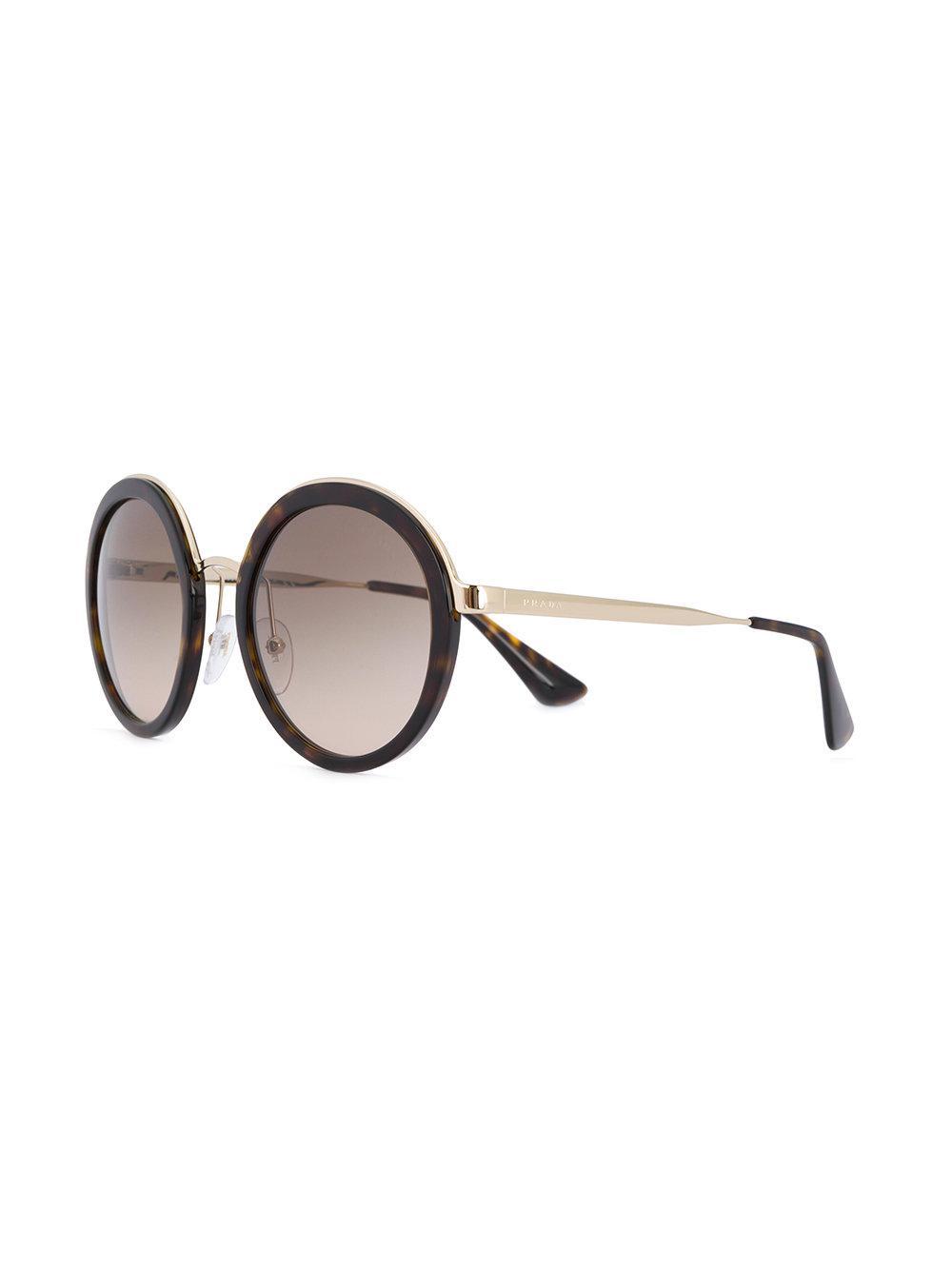 Prada Oversized Round Frame Sunglasses in Brown