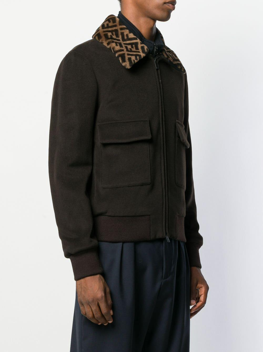 7ea64b903 Men's Brown Ff Collar Bomber Jacket