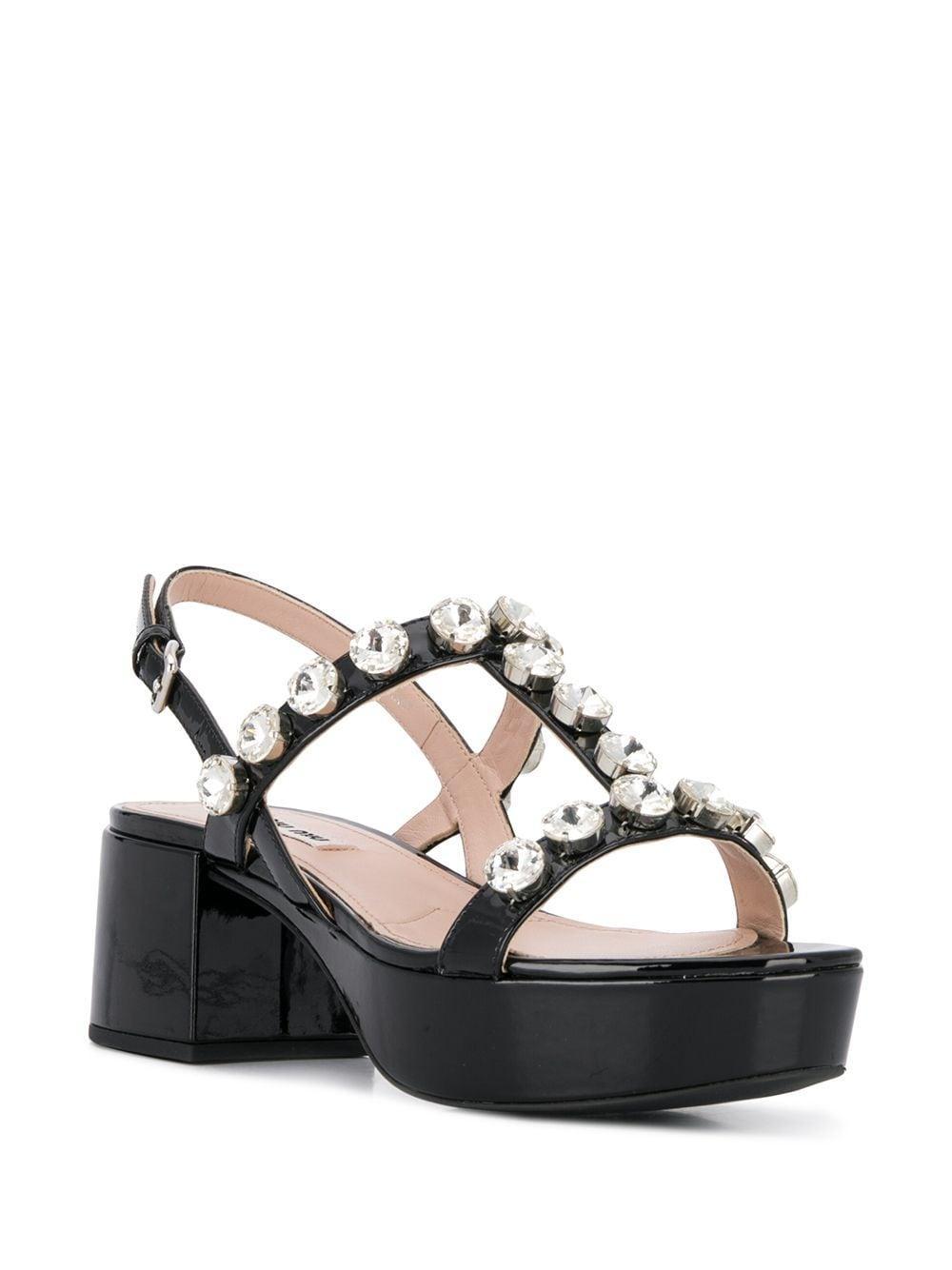 Sandalias de plataforma con apliques de cristal Miu Miu de Cuero de color Negro