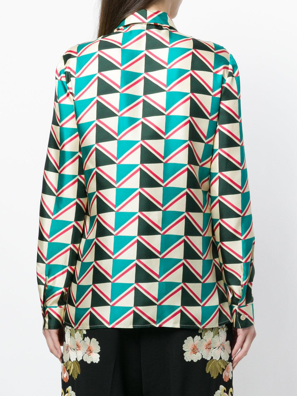 d5ea3cebc43 Gucci - Multicolor Geometric Print Blouse With Pussy Bow - Lyst. View  fullscreen