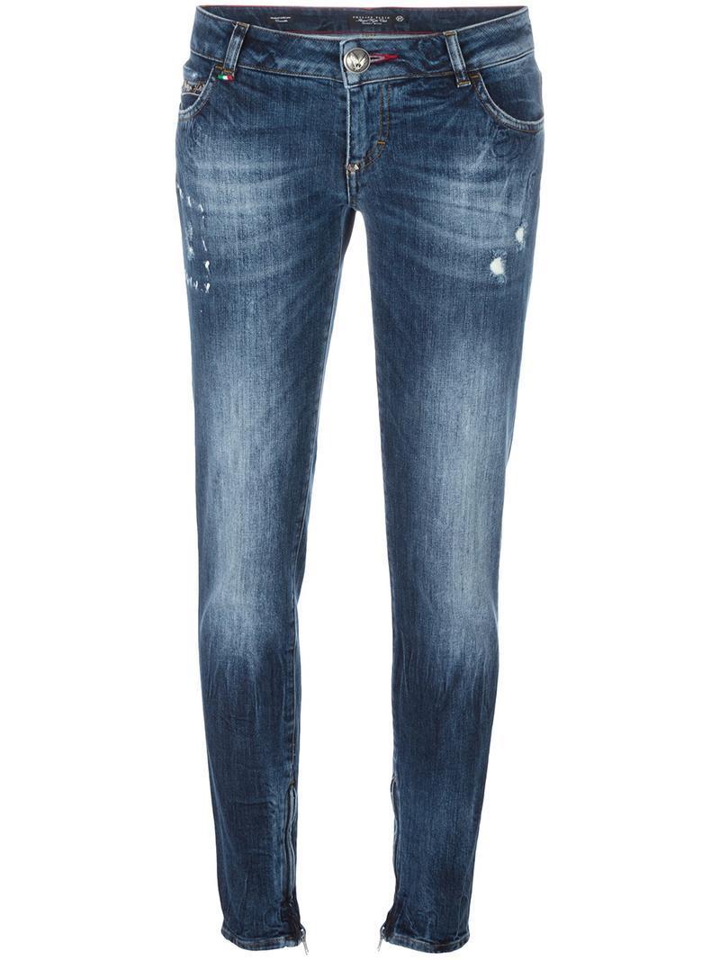 philipp plein distressed skinny jeans in blue lyst. Black Bedroom Furniture Sets. Home Design Ideas