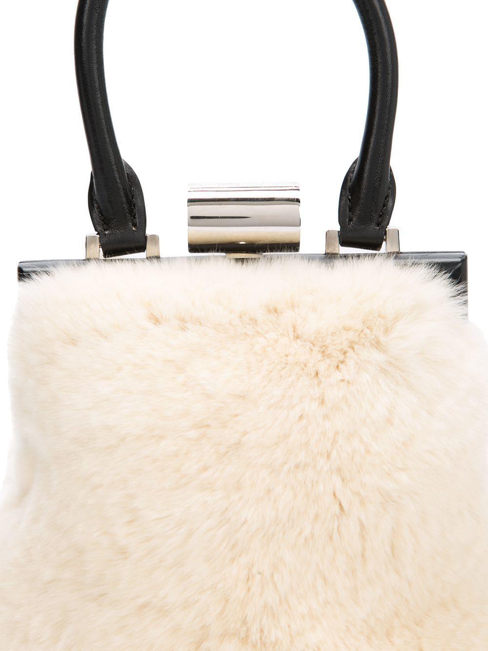 43127765ca Lyst - PERRIN Paris Furry Shoulder Bag in Natural