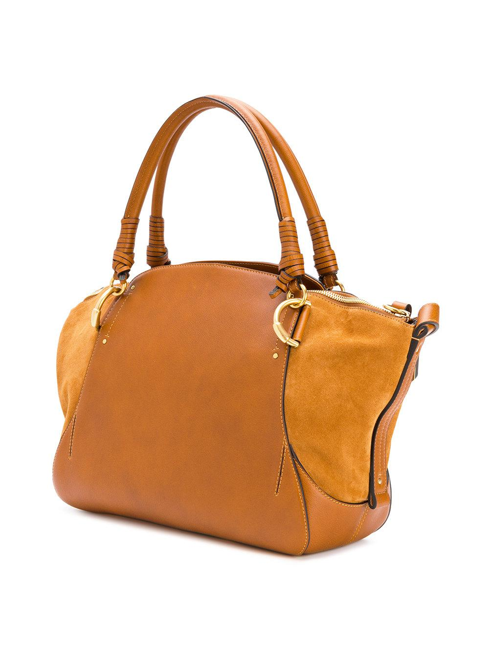 Chloé Leather Owen Tote Bag in Brown