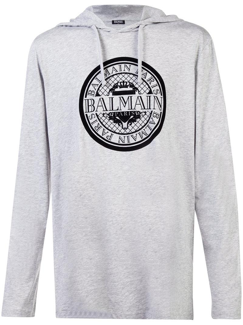 Balmain Cotton T-shirt With A Hood in Grey (Grey) for Men