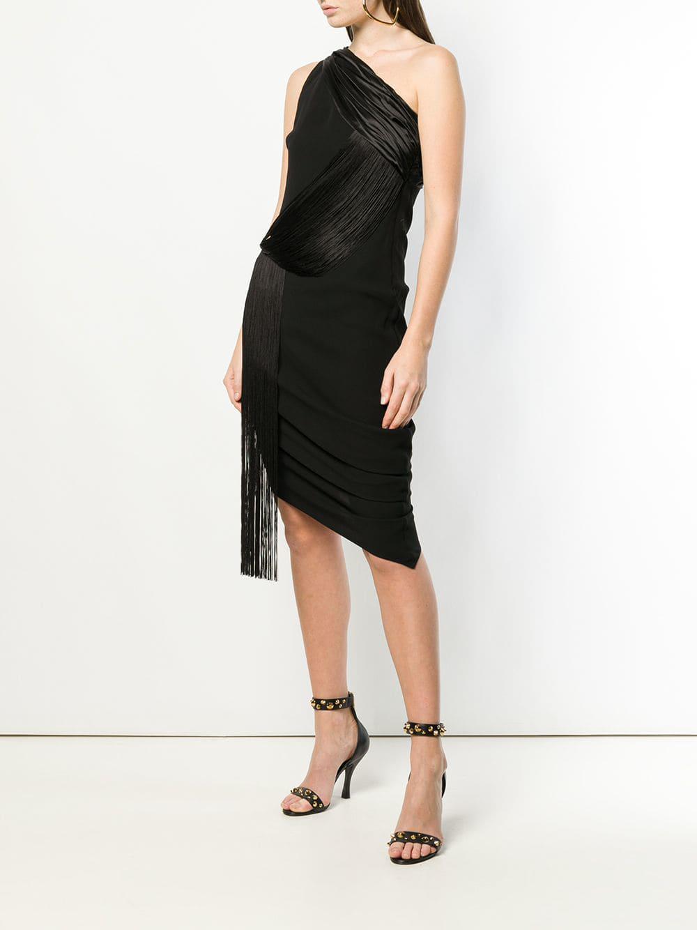 3b160a5db8f Versace Fringed One Shoulder Midi Dress in Black - Lyst