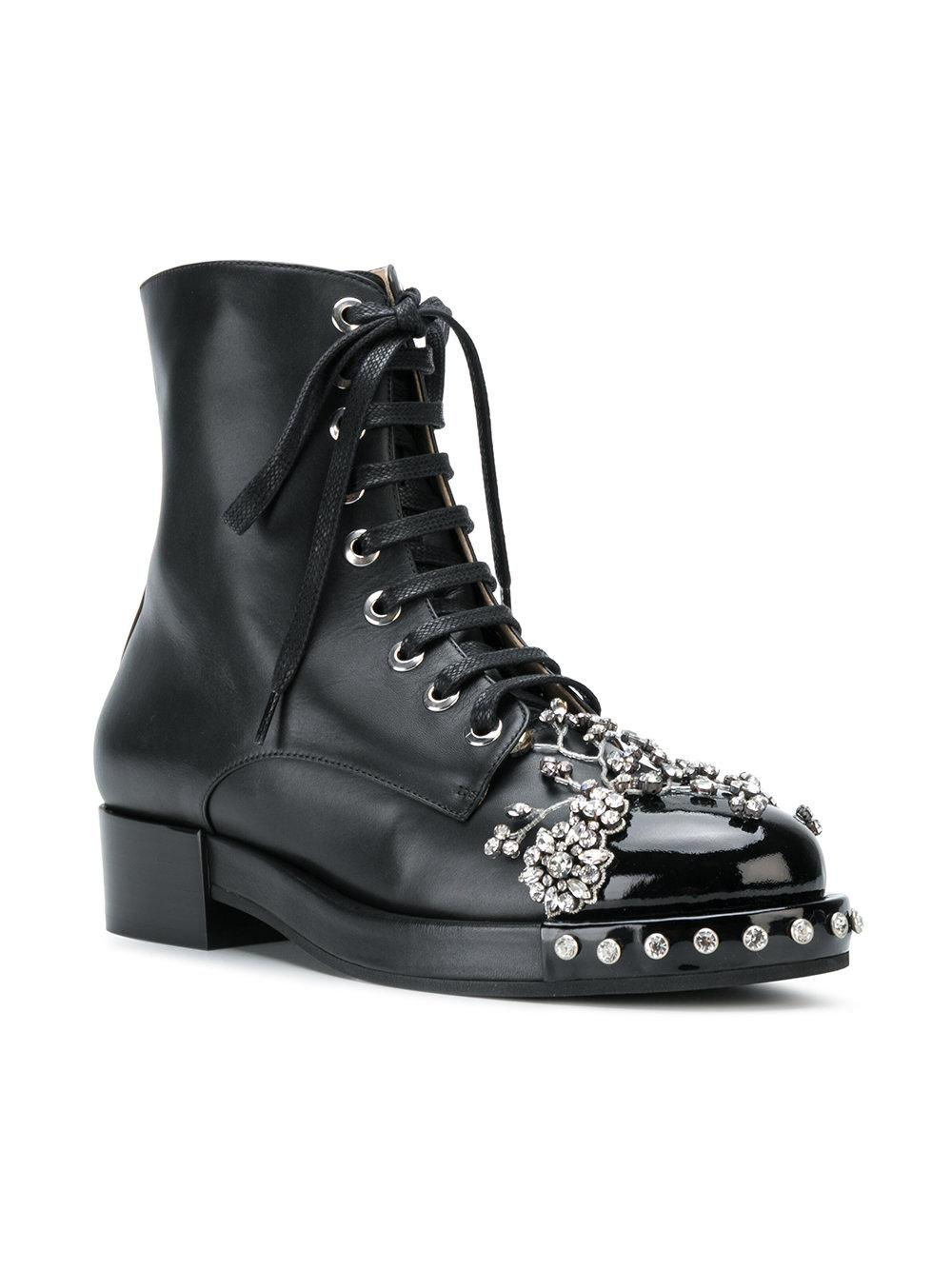 N°21 Woman Crystal-embellished Smooth And Patent-leather Ankle Boots Black