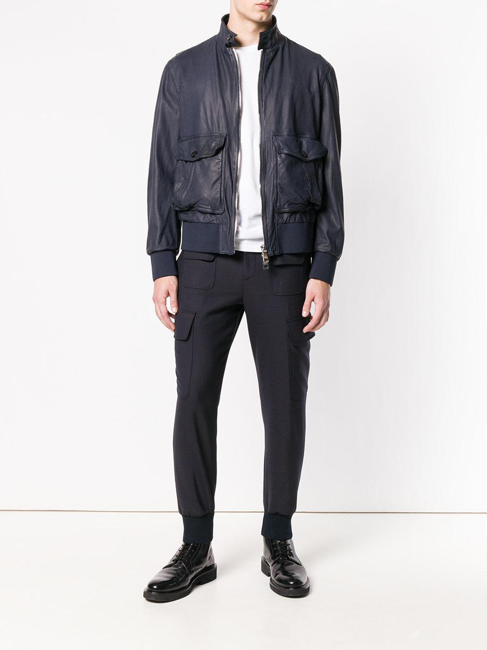 Neil Barrett Leather Funnel Neck Bomber Jacket in Blue for Men