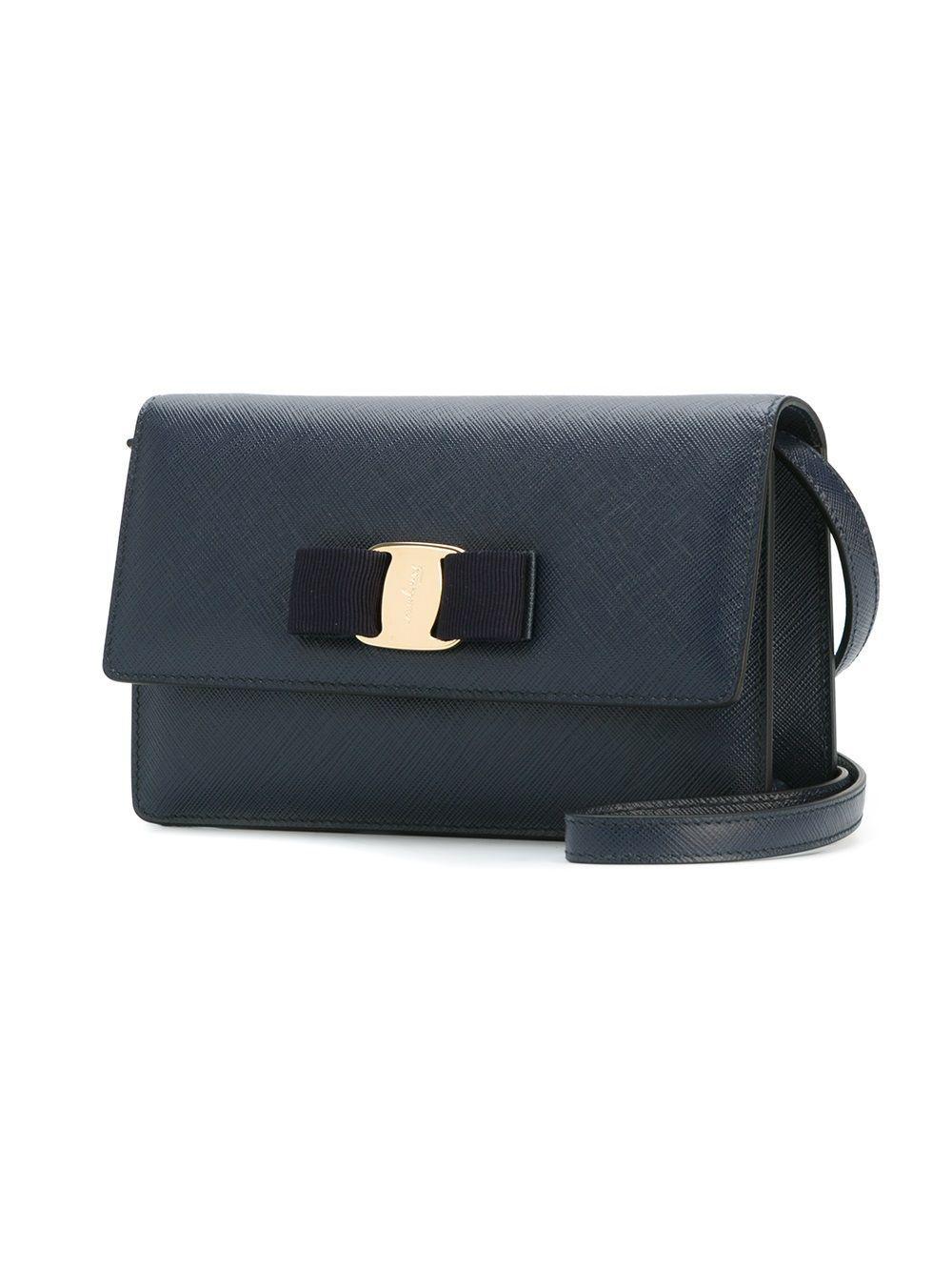 Ferragamo Leather 'ginny' Crossbody Bag in Blue (Black)