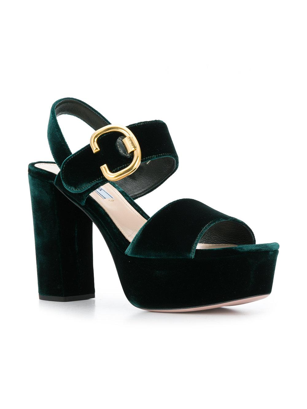 f52716bc473a Lyst - Prada Two-Tone Velvet Sandals in Green - Save 55%