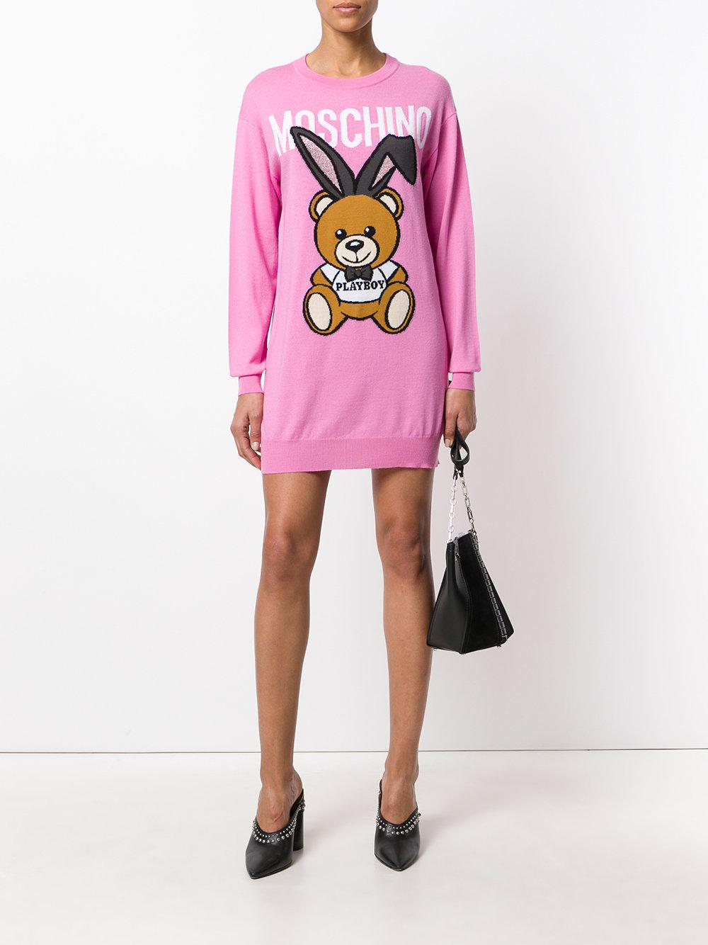 b58599bd2b4 Moschino Playboy Toy Bear Sweater Dress - Lyst