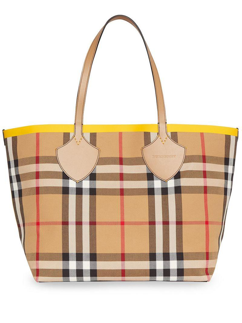 44e47897bd50 Lyst - Burberry The Large Giant Tote In Colour Block Check in Brown