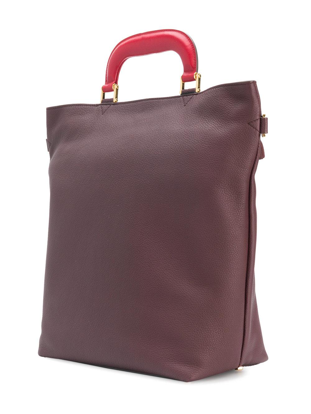 Anya Hindmarch Leather Circle Small Orsett Tote Bag in Pink & Purple (Purple)