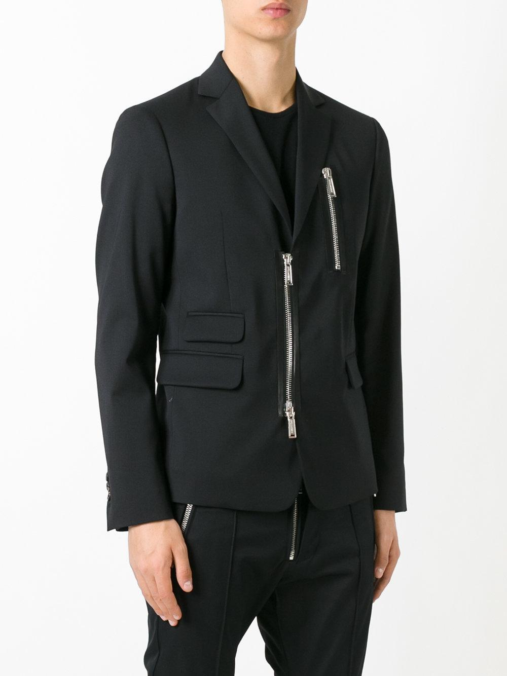 DSquared² Wool Zipped Blazer in Black for Men