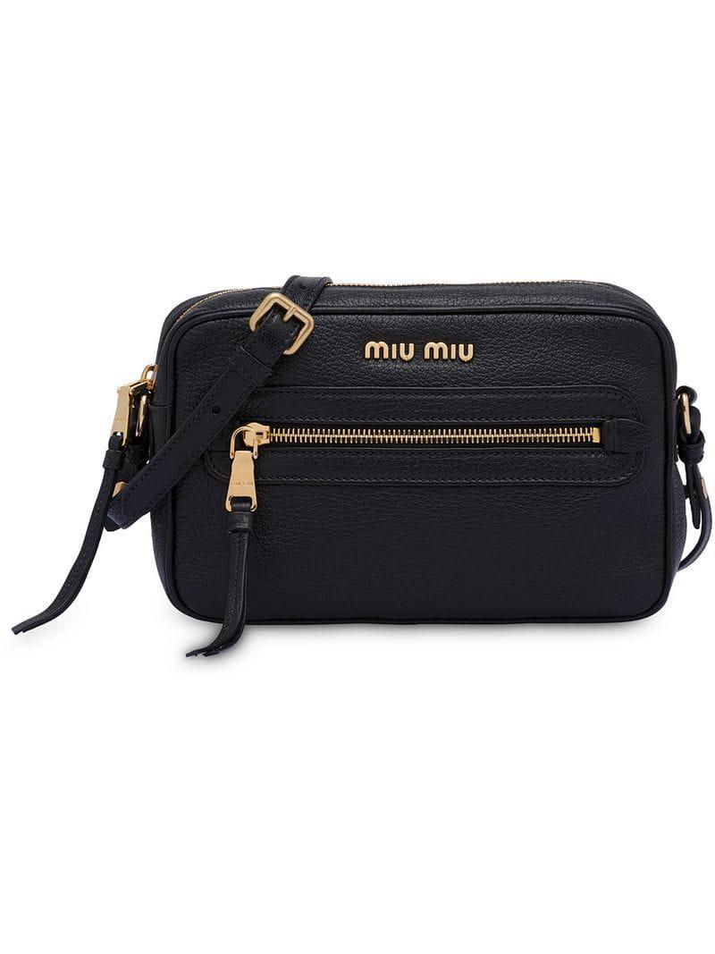 5ab16f9192f4 Miu Miu - Black Leather Shoulder Bag - Lyst. View fullscreen