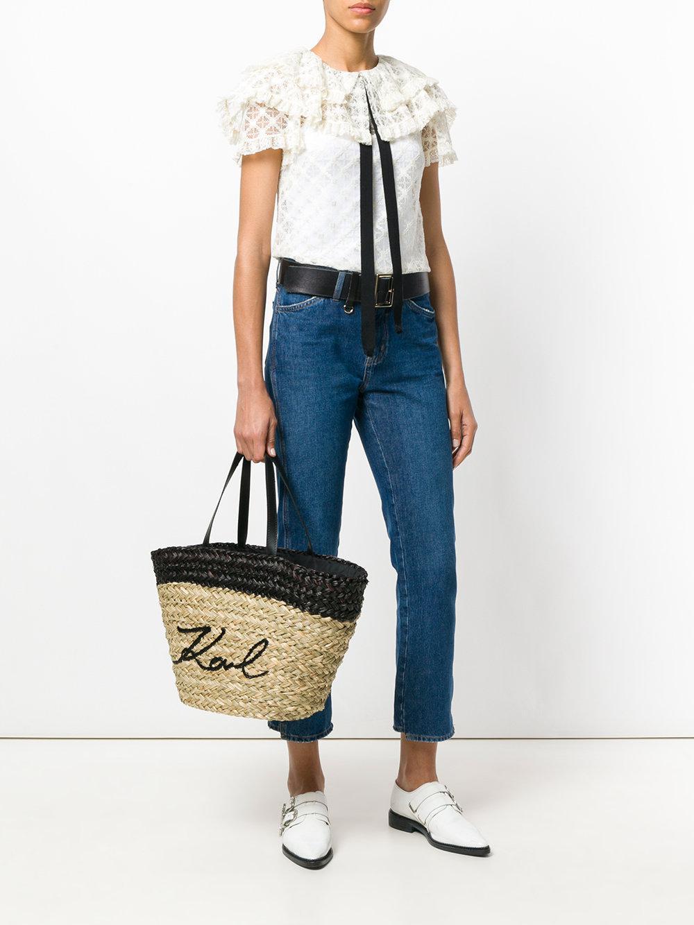 Karl Lagerfeld K/ikonik Straw Tote Bag