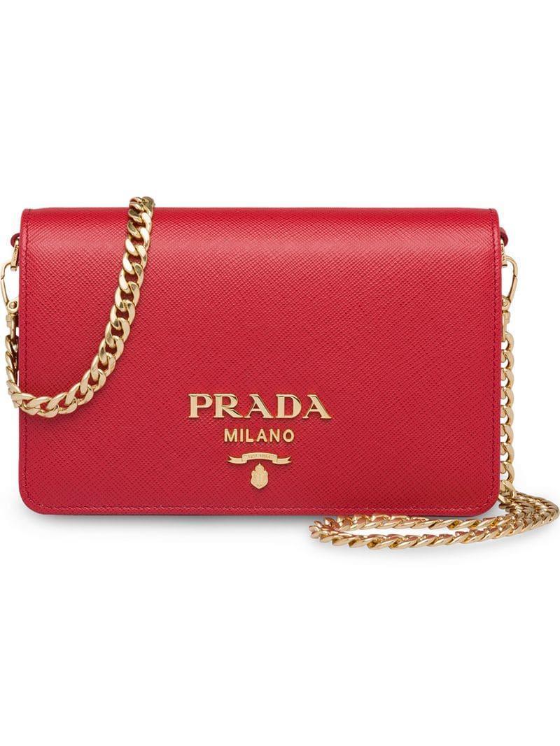 30451cf3634c Prada - Red Saffiano Leather Shoulder Bag - Lyst. View fullscreen