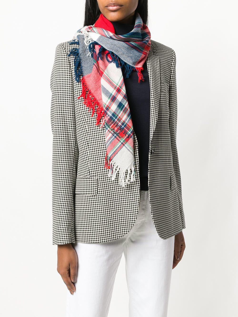38924408744b Burberry - Red Check Fringed Scarf - Lyst. View fullscreen
