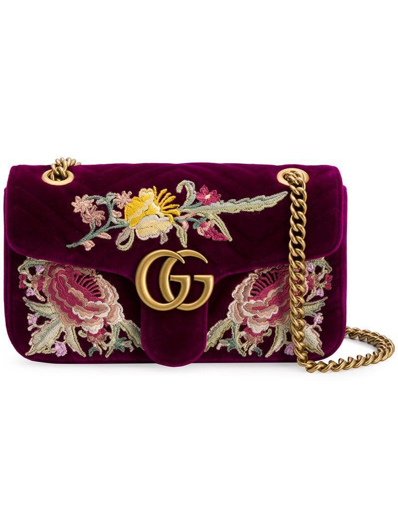 3b0eba4af7b Lyst - Gucci GG Marmont Embroidered Shoulder Bag in Pink