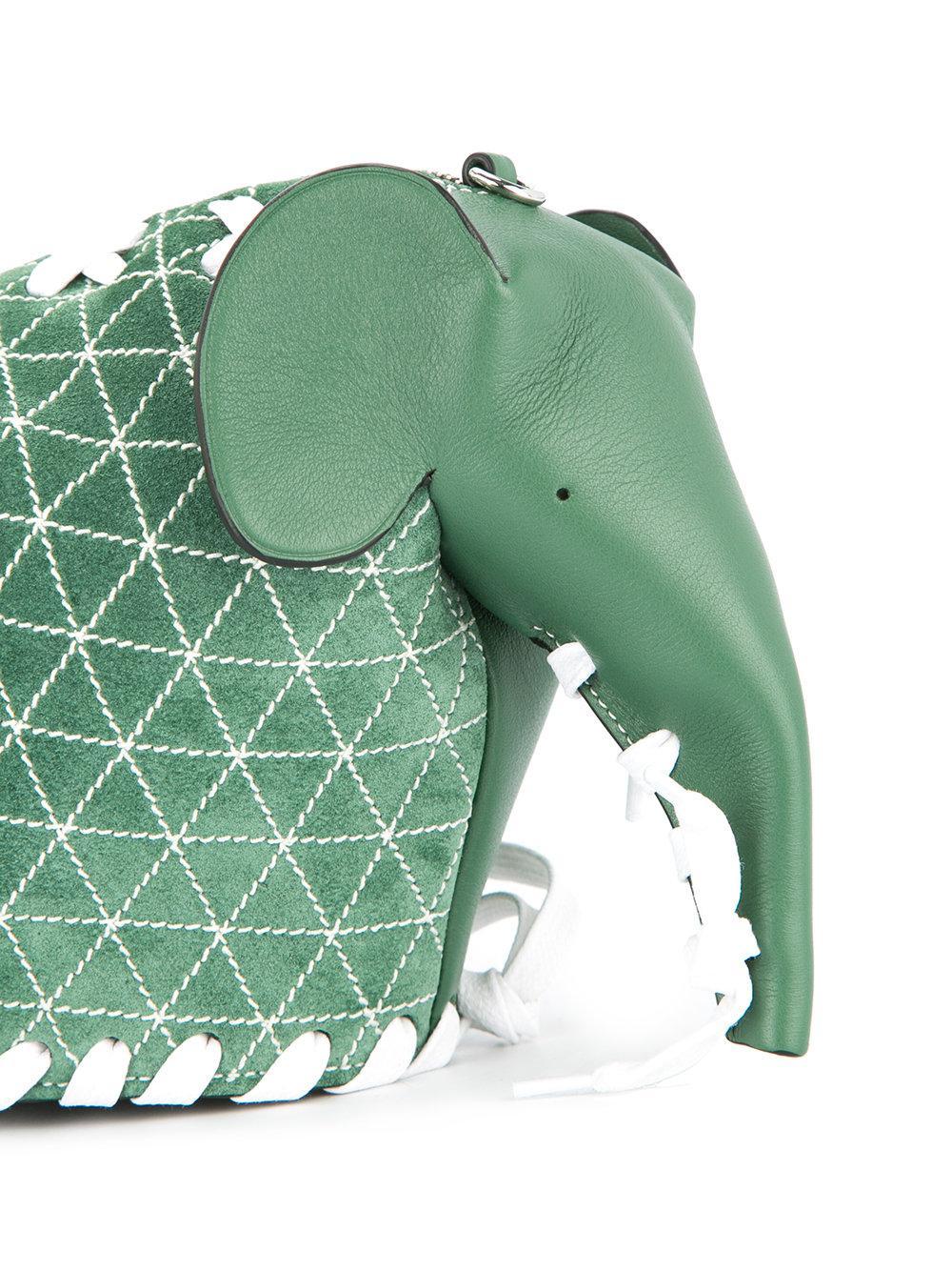 Loewe Leather Elephant Crossbody Bag in Green
