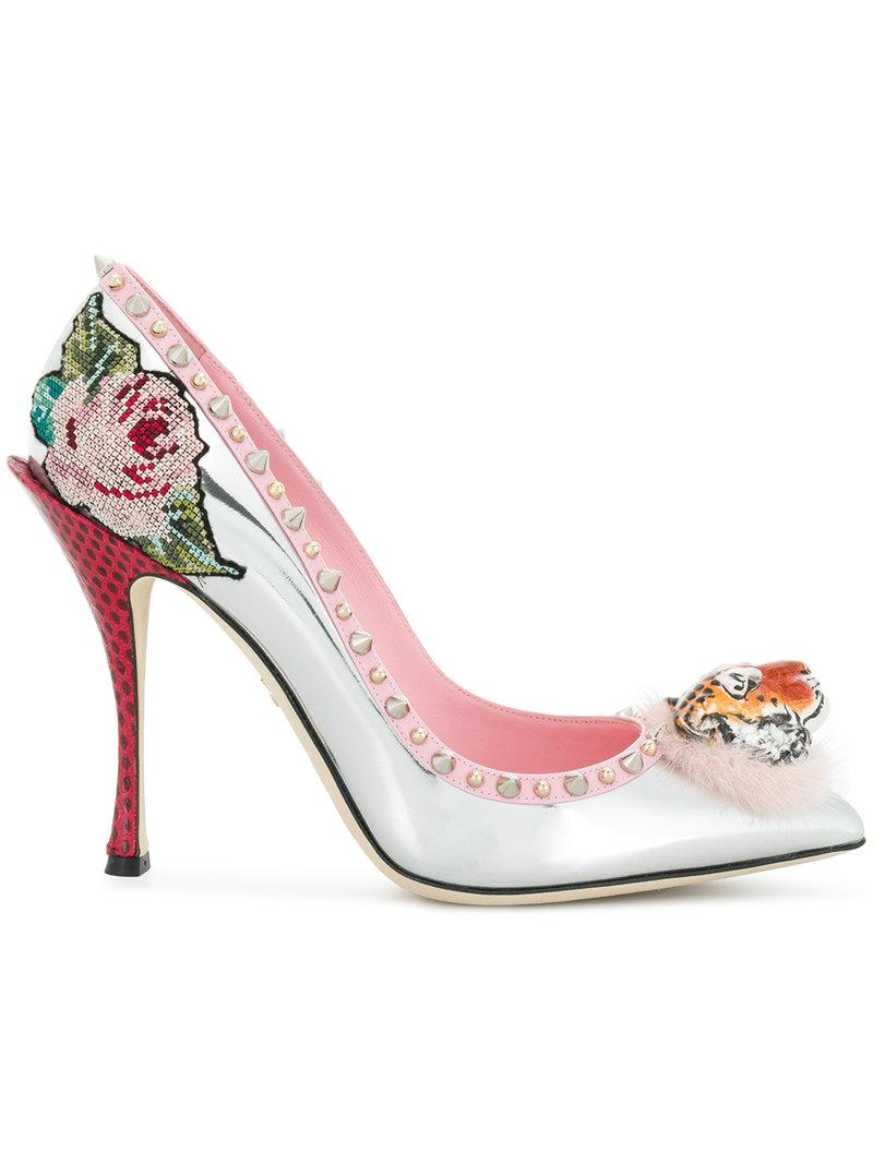 tiger front stud and floral detailed pumps - Metallic Dolce & Gabbana 2vCnq