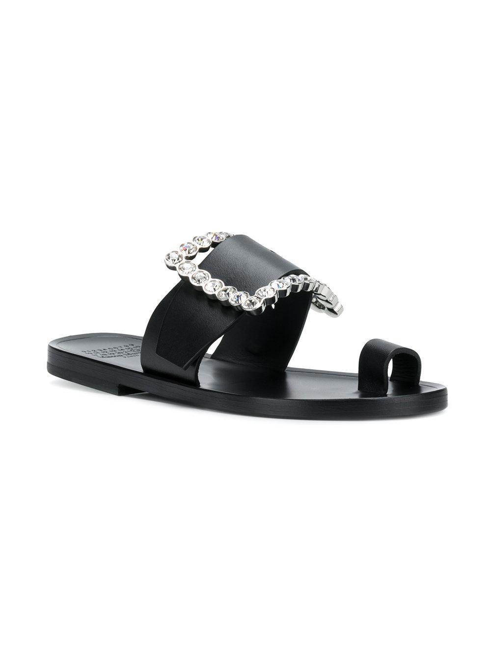 crystal buckle sandals - Black Maison Martin Margiela 35Ovk