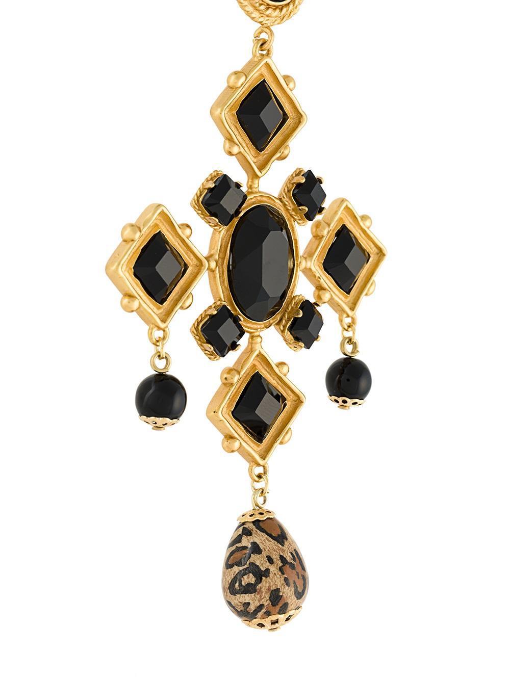 Dolce & Gabbana Long Beaded Cross Necklace in Black