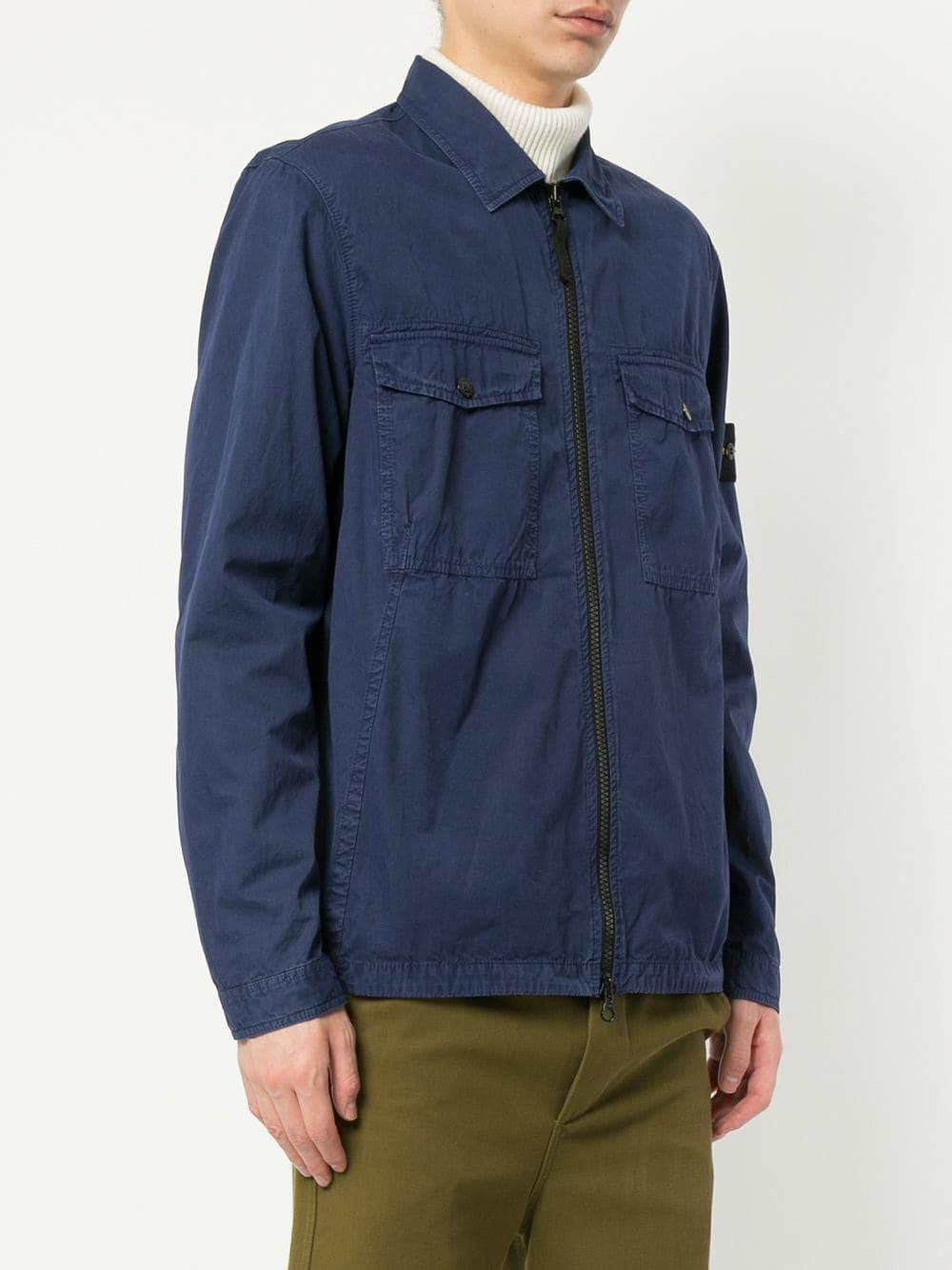Stone Island Cotton 107wn Shirt Jacket in Blue for Men - Lyst