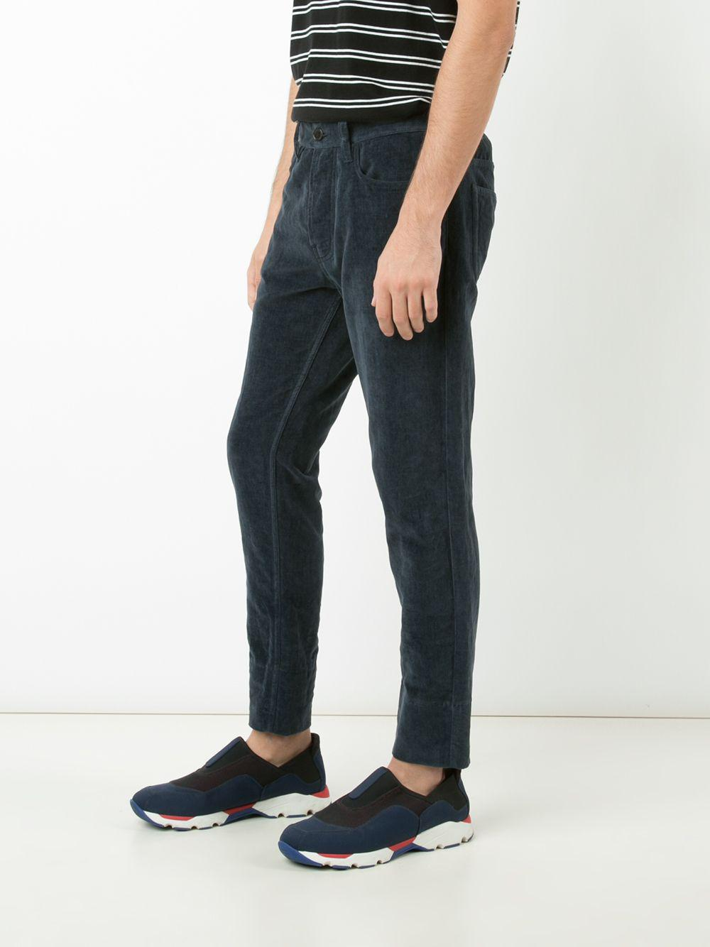 Marni Cotton Ribbed Trousers in Blue for Men
