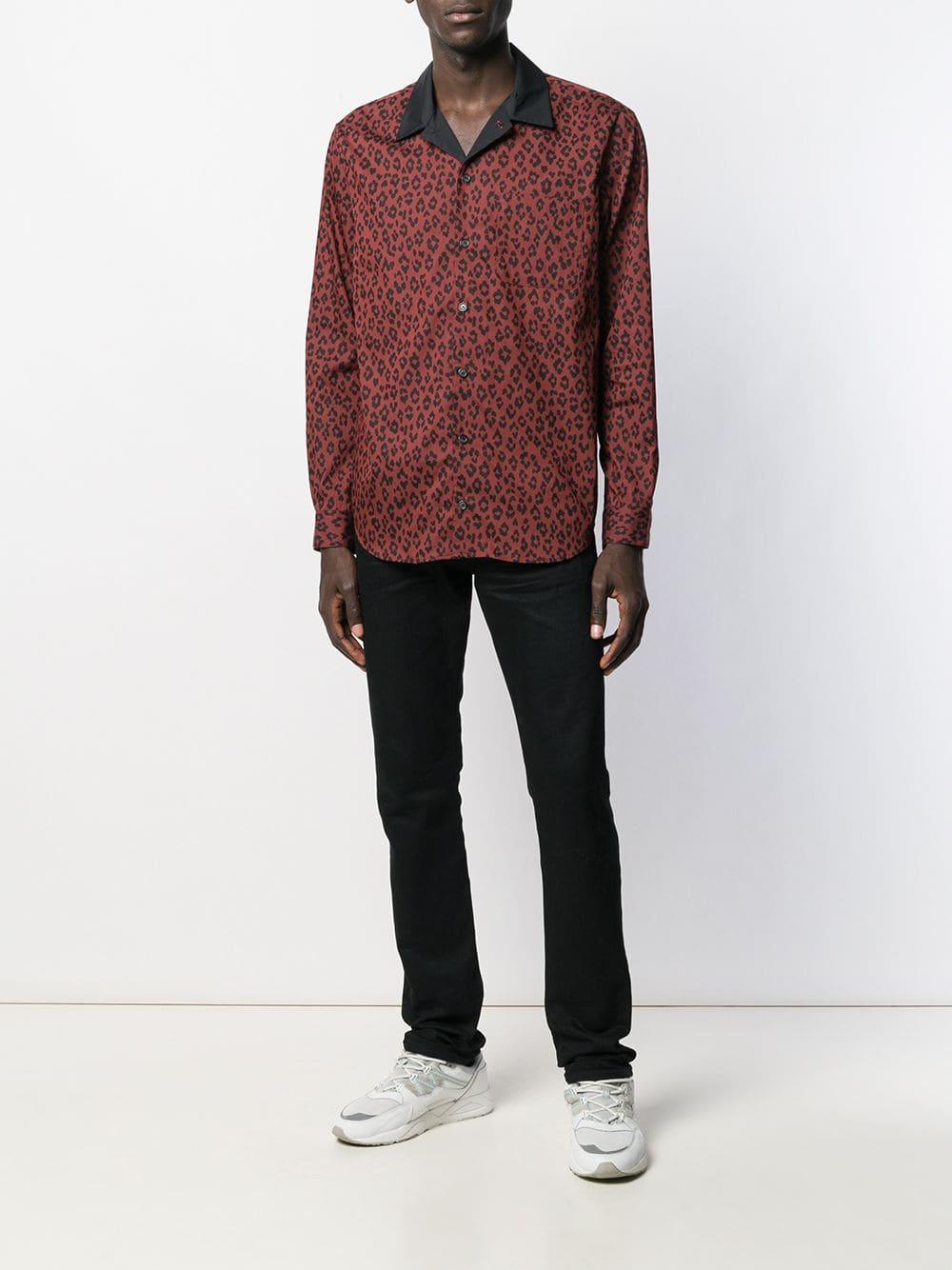 A.P.C. Zijde Overhemd Met Luipaardprint in het Bruin voor heren