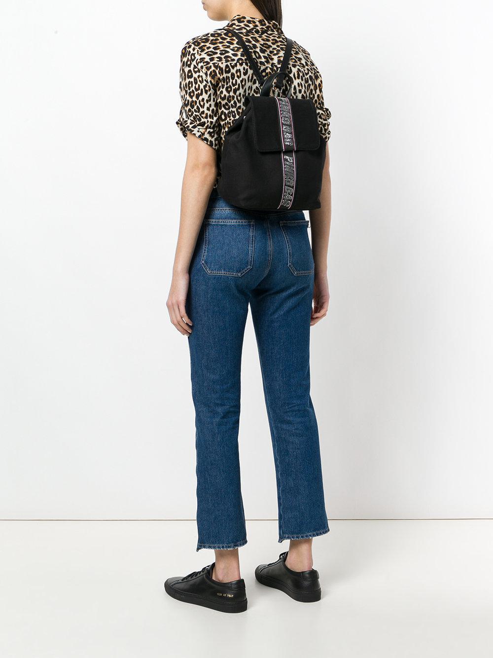 Pinko Cotton Embellished Brand Backpack in Black