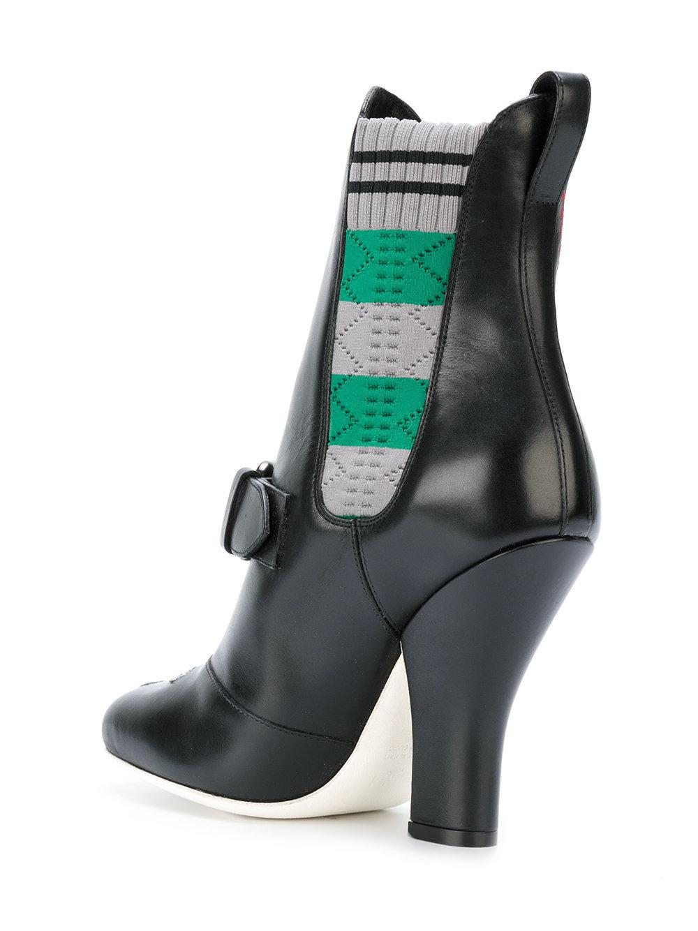 Fendi Leather Embroidered Ankle Boots in Black