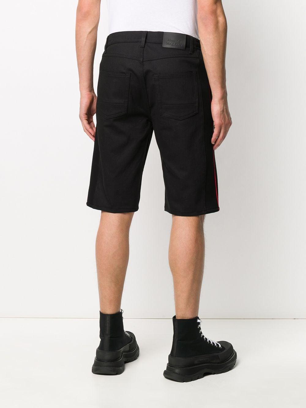 Alexander McQueen Katoen Shorts Met Geborduurd Logo in het Zwart voor heren