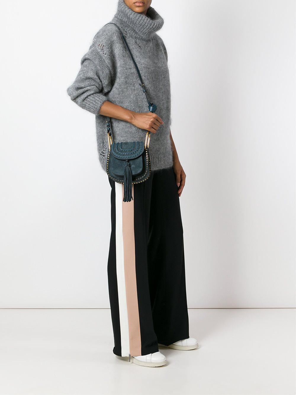 Chloé Hudson Mini Suede Shoulder Bag in Blue