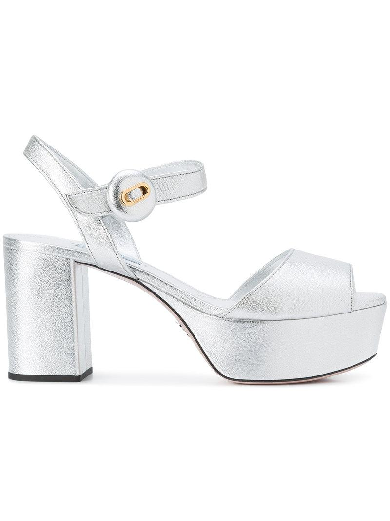 642acc7b160 Prada Mid-high Block Heel Sandals in Metallic - Lyst