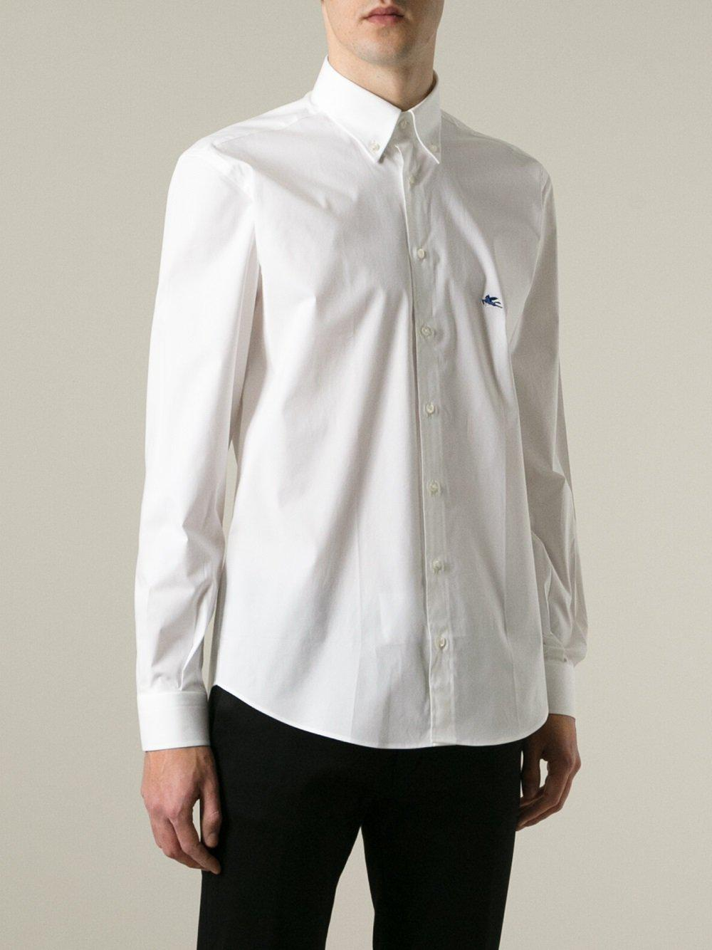 Lyst etro embroidered logo shirt in white for men for Lands end logo shirts