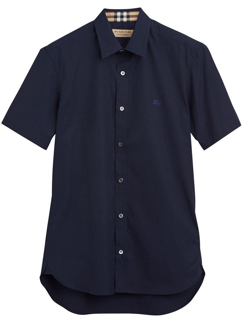 Lyst - Chemise à manches courtes Burberry pour homme en coloris Bleu b8662a7b863