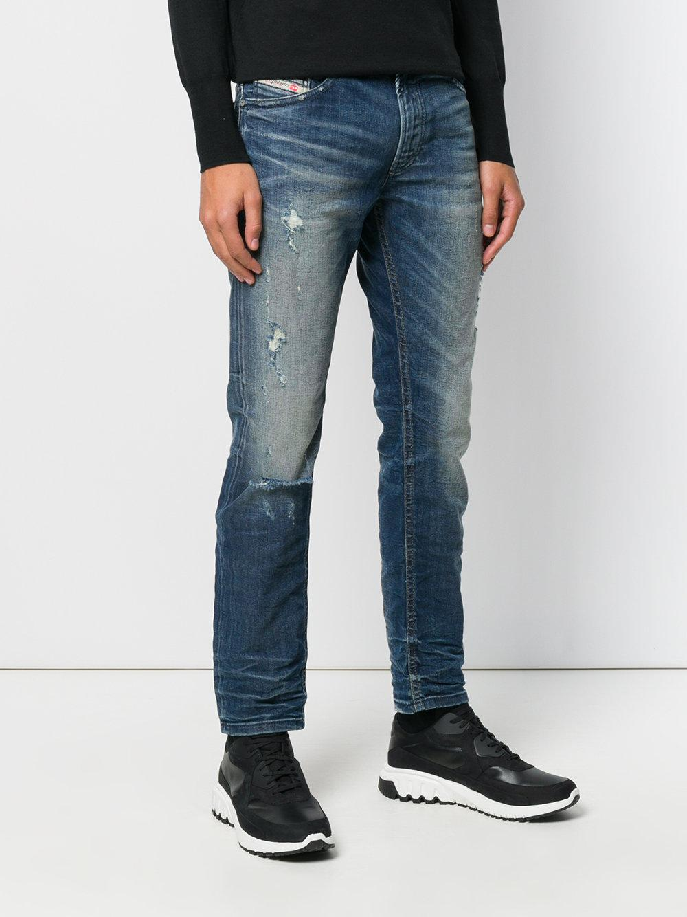 lyst diesel thommer slimfit jeans in blue for men