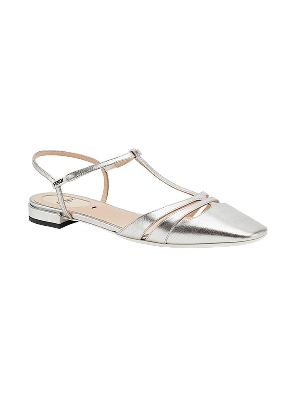 T-bar ballerinas - Metallic Fendi Outlet Buy buekE6mrZ