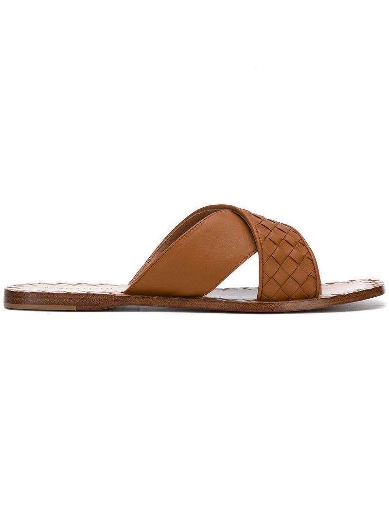 Bottega Veneta intrecciato woven sandals - Metallic farfetch Eastbay Línea Barata U9LP9