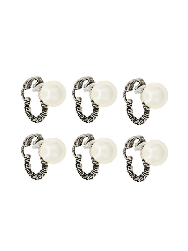 Saint Laurent coil pearl hoop - Metallic isWLu