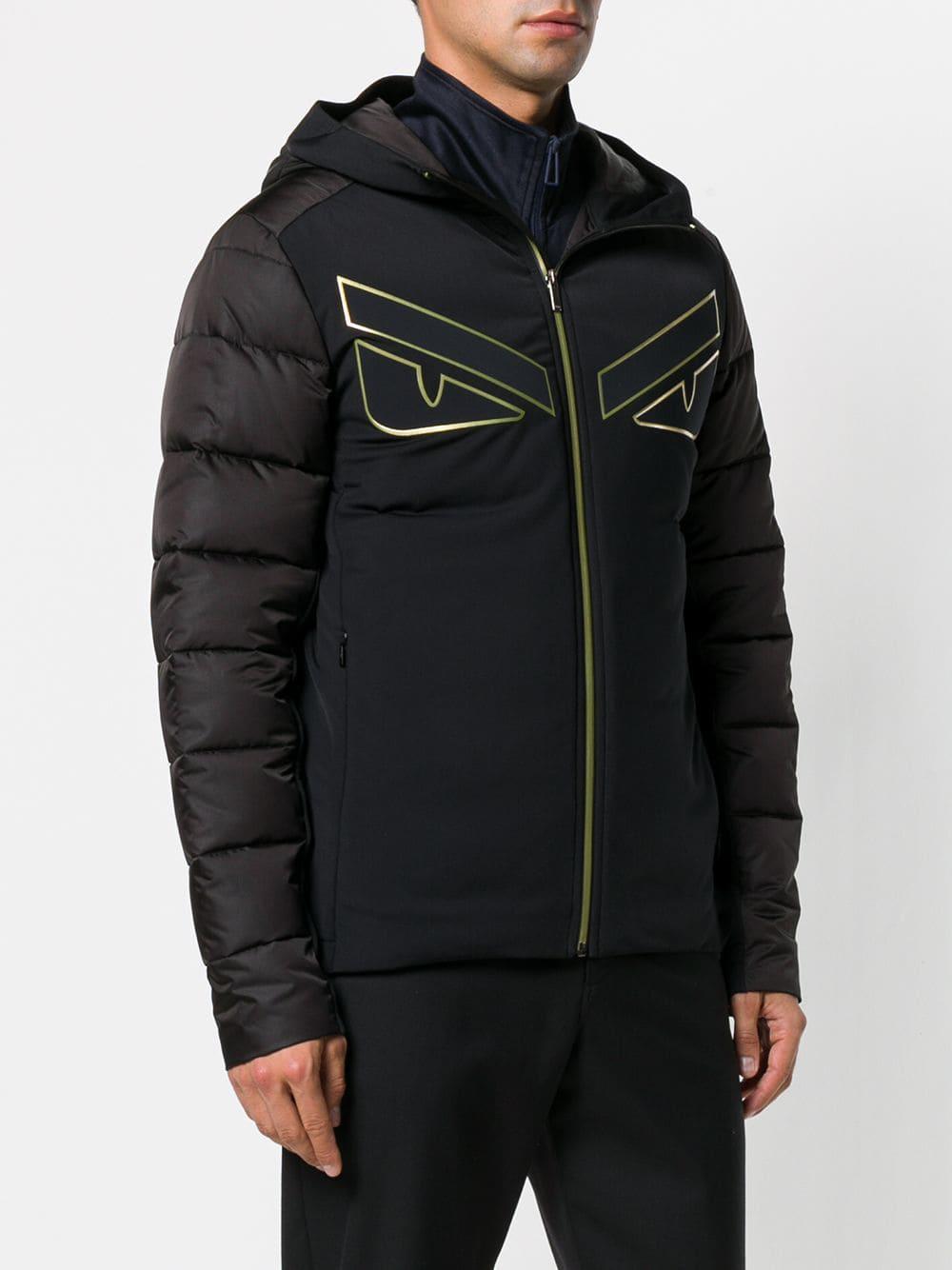 Fendi Synthetic Hooded Padded Jacket in Black for Men