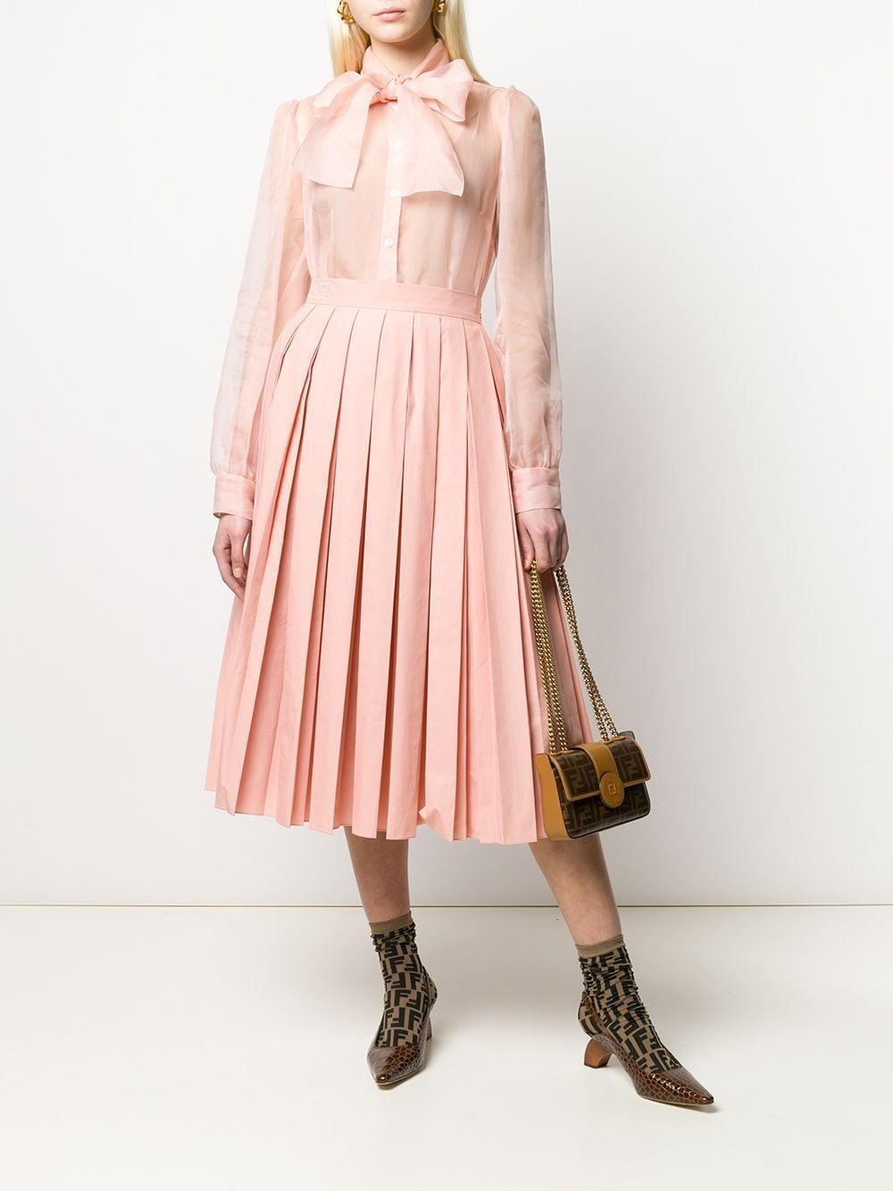 Jupe plissée à logo brodé Coton Fendi en coloris Rose
