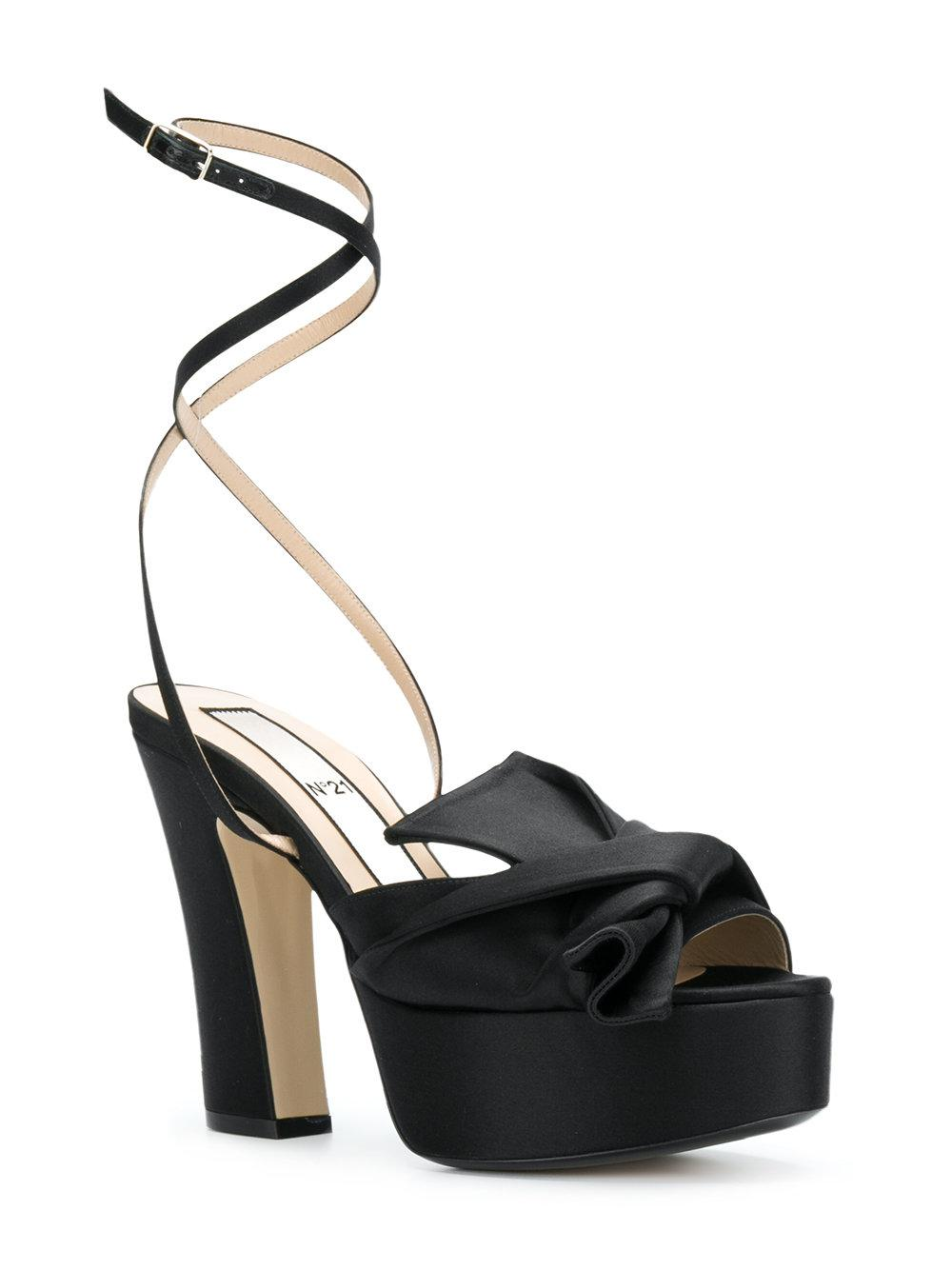 abstract bow ankle strap sandals - Black N°21 9olseRjYXZ
