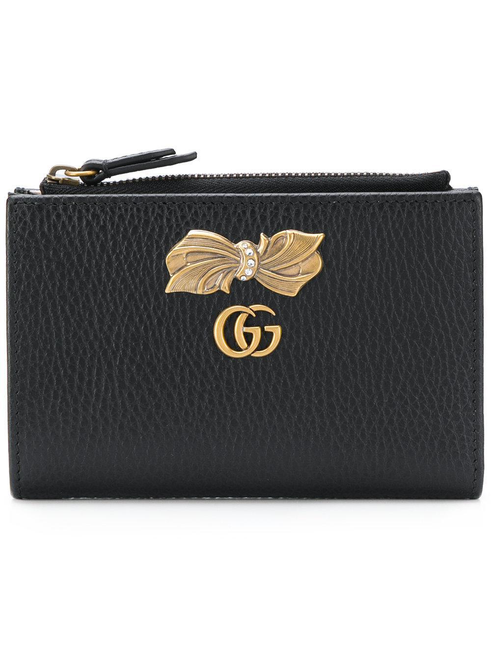 f79fd862e9f6 Gucci Bow Detail Zip Wallet in Black - Lyst